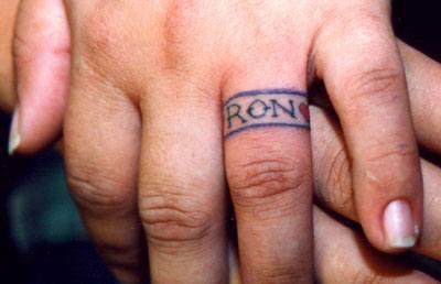 Named ring tattoo on finger