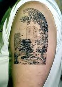 Realistic landscape with trees black ink tattoo