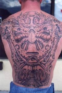 Full back biomechanical tattoo