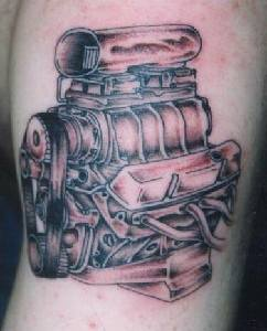 Detailed car engine tattoo