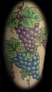 Colourful grape vine tattoo