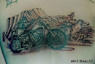 Biker and horseman race tattoo