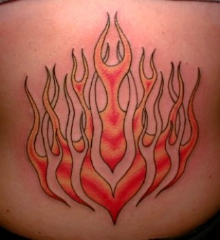Symmetrical flame coloured tattoo