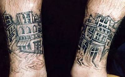 City view tattoo on both legs