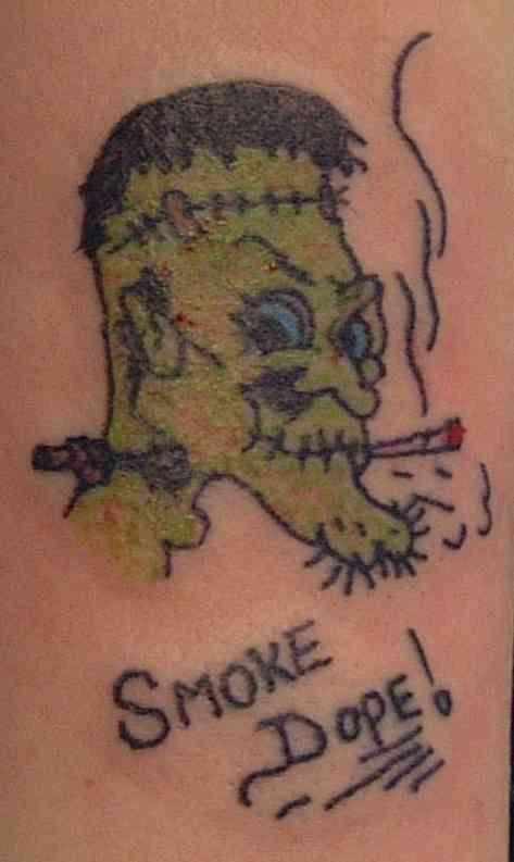 Smoke dope frankenstein tattoo
