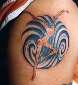 Surreal ballerina coloured tattoo