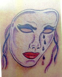 Crying theatrical mask tattoo
