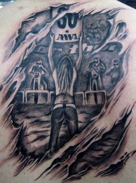 Motocross tattoo in 3d