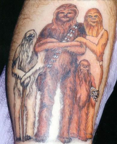 Chewbecca famiglia tatuaggio colorato