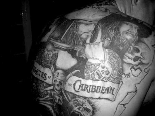 Pirates of caribbean full back tattoo