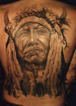 Full back indian chief portrait tattoo