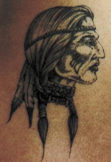 Old indian woman profile tattoo