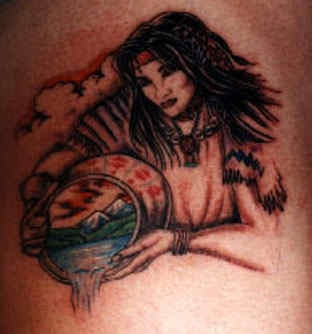 Mythical indian girl with basket tattoo