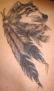 Lupe e piume tatuaggio