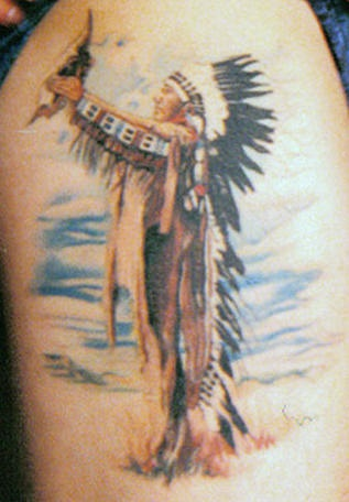 Native american chief with seashell tattoo