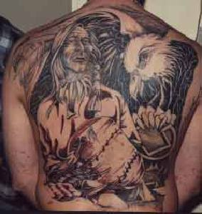 Native american themed full back tattoo