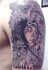 Native american girl detailed tattoo