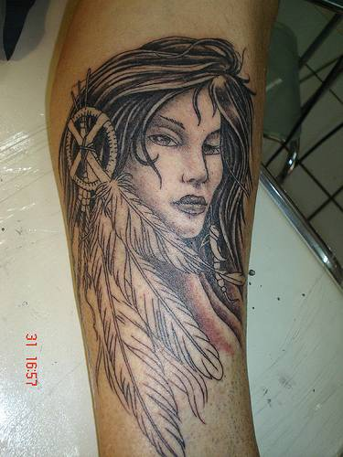 Beautiful native american girl tattoo