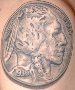 Native american on coin tattoo