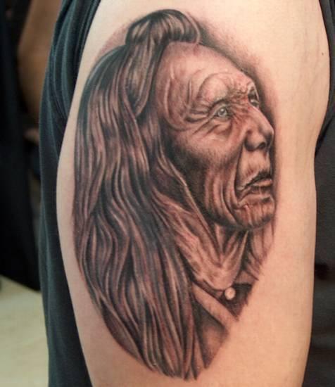 Old indian shaman detailed tattoo