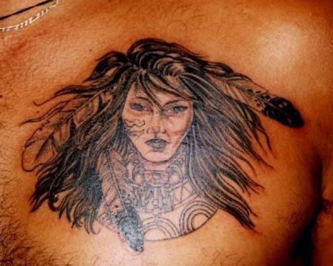 Native american beautiful girl tattoo