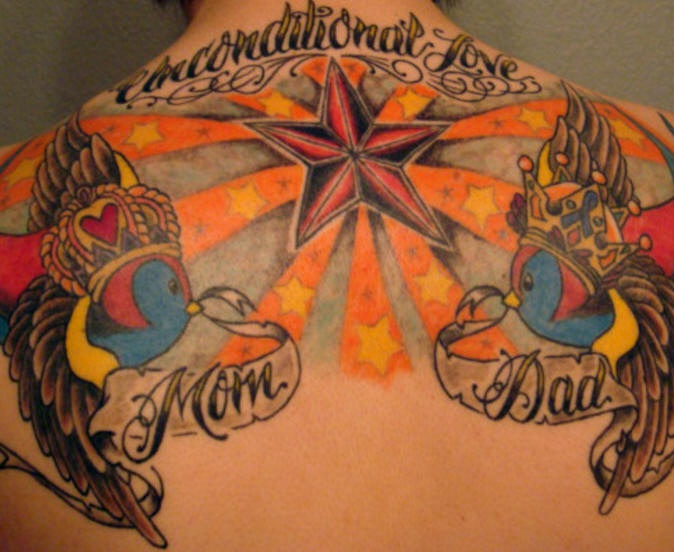 Colourful stars and crowned sparrows tattoo on back