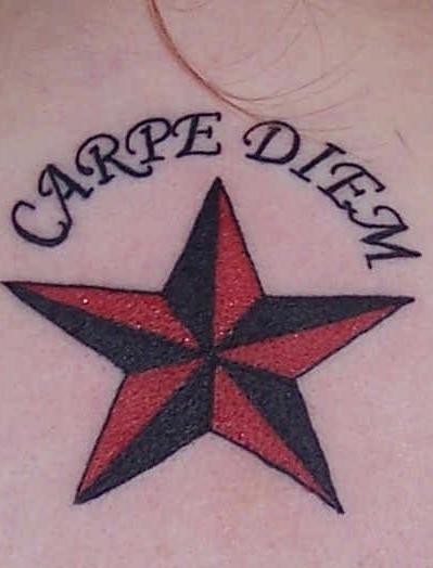 Carpe diem on star tattoo
