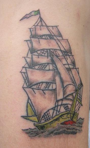 Detailed sailing vessel tattoo