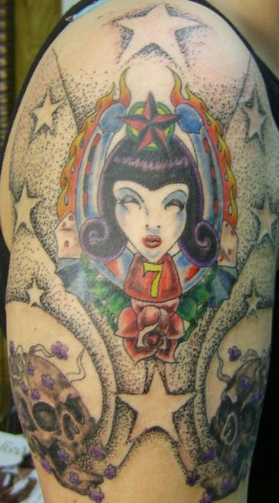 Vamp girl and rose classic tattoo
