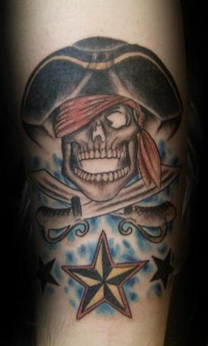 Pirate skull and crossed swords and nautical star tattoo