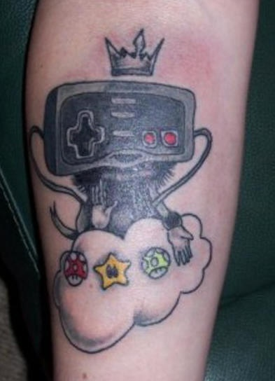 Nintendo joystick in heaven tattoo