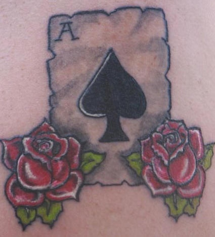 Old school tattoo with peak ace and roses