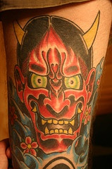 Old school tattoo art of red angry demon