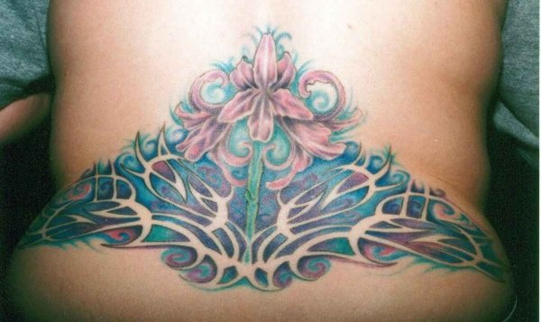 Orchid flowers tracery tattoo on lower back