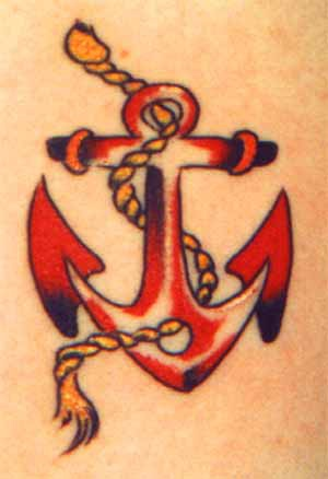 Small traditional tattoo with red anchor