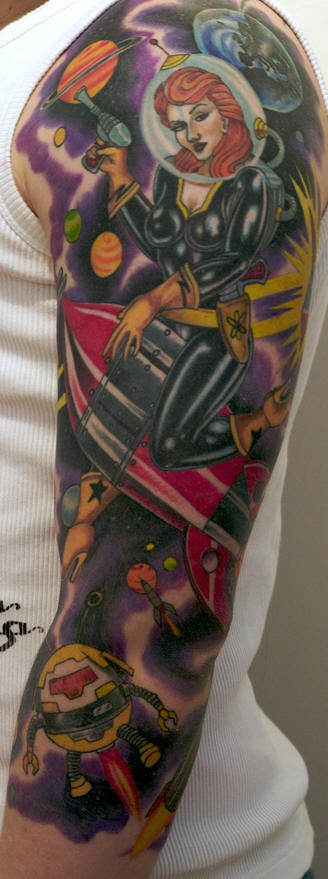 Retro futuristic theme sleeve tattoo