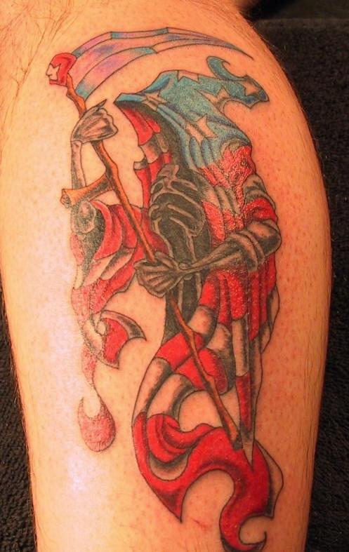 Grim reaper in usa flag cloak tattoo