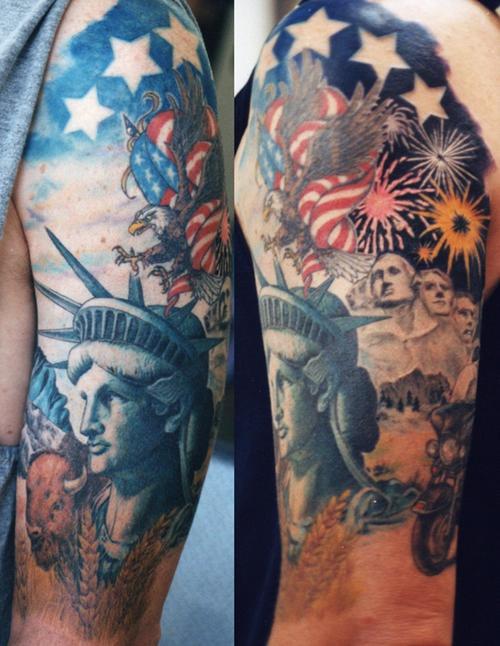 Mega patriotic american symbols  tattoo