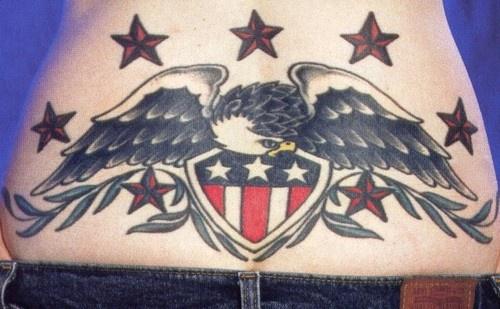 Patriotic usa eagle lower back tattoo