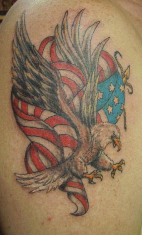 Eagle and american flag tattoo