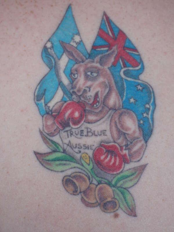 Australian patriotic tattoo with kangaroo