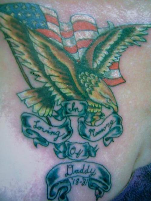 Golden eagle and usa flag tattoo