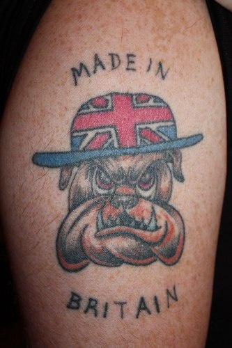 Made in Britain bulldog tatuaggio