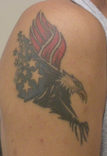 Eagle with usa flag wings tattoo