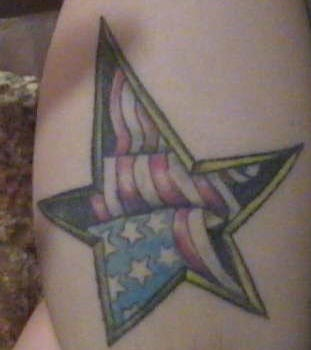 American flag in star tattoo
