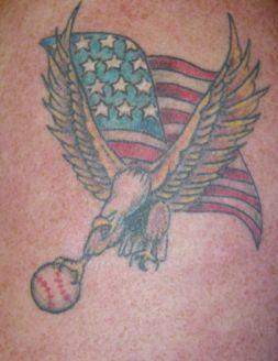 Baseball eagle and usa flag tattoo