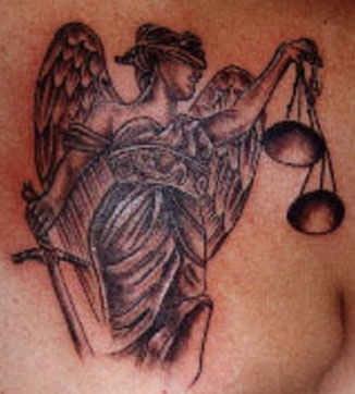Patriotic USA blind justice  tattoo