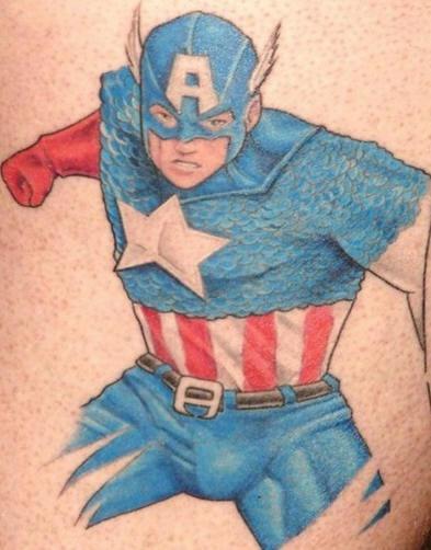 Patriotic captain america tattoo in colour