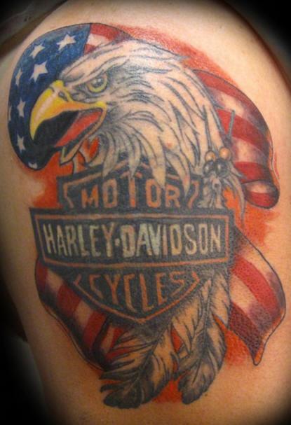 Patriotic harley davidson tattoo