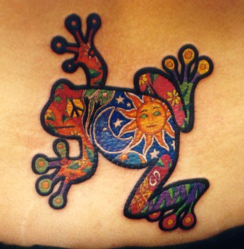 Pretty nice colorful frog tattoo